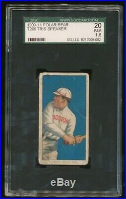 1909-11 T206 Tris Speaker SGC 1.5 Fair Polar Bear Back Red Sox