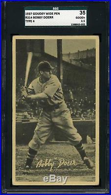 1937 Goudey Wide Pen BOBBY DOERR HOF ROOKIE RC Boston CENTERED SGC 35