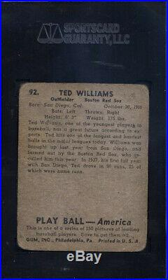 1939 Play Ball #92 Ted Williams Rookie HOF Red Sox SGC 1 708368