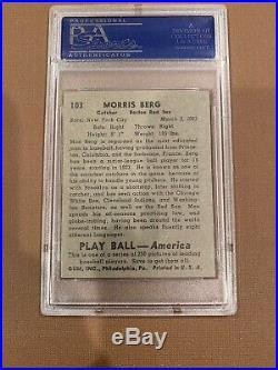 1939 Play Ball Moe Berg Sample #103 PSA 6 EX-MT