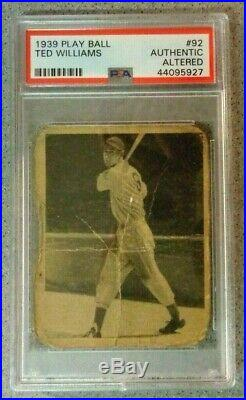 1939 Play Ball TED WILLIAMS ROOKIE CARD # 92 PSA Authentic Altered Playball