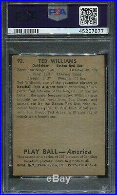 1939 Playball #92 Ted Williams Rookie Psa Altered HOF Red Sox