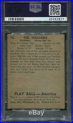 1939 Playball #92 Ted Williams Rookie psa Authentic Altered HOF Red Sox
