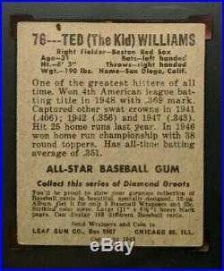 1948 Leaf #76 Ted Williams HOF SGC VG/EX-4