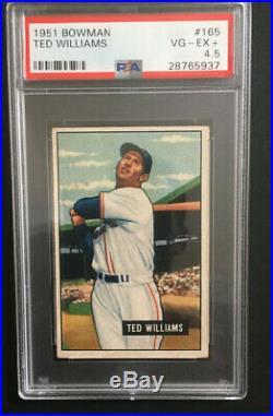 1951 Bowman Baseball Card #165 Ted Williams PSA 4.5 EX+ Red Sox Hof Clean NICE