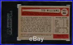 1954 Bowman #66 Ted Williams Sgc 3 Vg Boston Red Sox