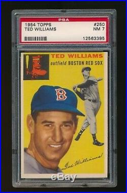 1954 Topps Ted Williams Psa 7 Nm Boston Red Sox #250 Centered, Sharp