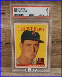 1958 Topps #1 Ted Williams PSA 5 EX HOF FOCUSED