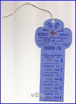 1967 World Series Press Pass Boston Red Sox Autograph / Signed CARL YASTRZEMSKI