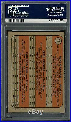 1972 Topps Carlton Fisk RED SOX ROOKIES RC HOF #79 PSA 10 GEM MINT POP 9