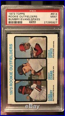 1973 Topps #614 Rookie Outfielders Dwight Evans RC PSA 9 Mint Future HOF Red Sox