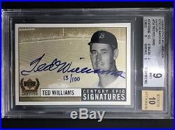 1999 Ud Century Legends Epic Signatures Century Ted Williams Autograph Bgs 9/10