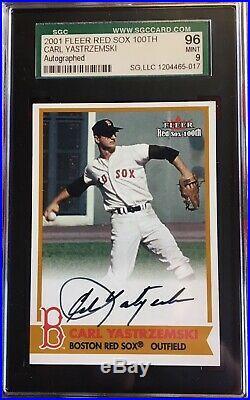2001 Fleer Red Sox 100th Carl Yastrzemski Auto Bosox Sigs SP SGC 96