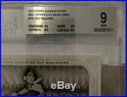 2013 Topps Allen Ginter TED WILLIAMS Cut Auto Box Topper #/5 RedSox BGS PSA HOF