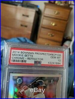 2014 Bowman Chrome Mookie Betts Prospects Refractor RC Rookie PSA 10 GEM MINT