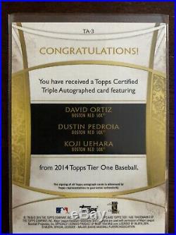 2014 Topps Tier One David Ortiz Dustin Pedroia Koji Uehara Auto Autograph #9/10