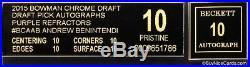 2015 Andrew Benintendi Bowman Chrome Purple Refractor Auto /250 BGS 10 Black Lbl