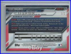 2016 Bowman Chrome Draft Bobby Dalbec Superfractor #d 1/1 RC Boston Red Sox