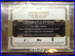 2016 Tier One Limited Bat Lumber Dustin Pedroia Bat Barrel Autograph #1/1 = RARE