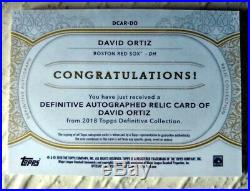 2018 Topps Definitive David Ortiz Autograph Jersey Patch Auto # 1/10 Sp Red Sox