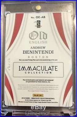 2019 Immaculate Baseball Andrew Benintendi Printing Plate Auto 1 of 1
