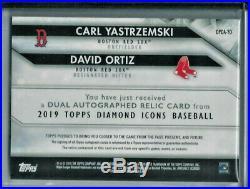 2019 Topps Diamond Icons Dual Autograph Relic Ortiz & Yastrzemski Auto Red # 5/5