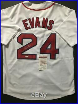 Autographed/Signed DWIGHT EVANS Boston White Baseball Jersey JSA COA Auto