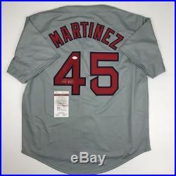Autographed/Signed PEDRO MARTINEZ Boston Grey Baseball Jersey JSA COA Auto