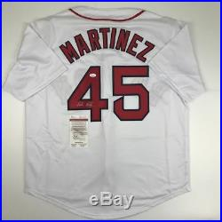 Autographed/Signed PEDRO MARTINEZ Boston White Baseball Jersey JSA COA Auto