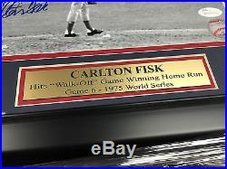 Carlton Fisk Walk Off Hr Red Sox Autographed 8x10 Framed Photo Jsa Coa Signed