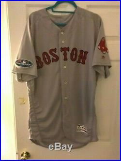Game Worn (Used) Xander Boegarts Boston Red Sox Away 2018 Post Season Jersey