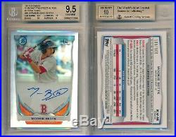 Mookie Betts RED SOX 2014 Bowman Chrome Refractor Rookie Rc BGS 9.5 Auto 10 x398