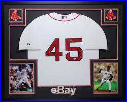Pedro Martinez Autographed and Framed White Red Sox Jersey Auto JSA COA (D1-L)