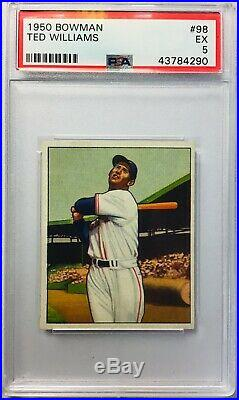 Psa 5 Ex 1950 Bowman #98 Ted Williams Centered Boston Red Sox