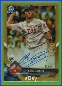 Rafael Devers 2018 Bowman Chrome Rookie Gold Refractor Auto 43/50 Red Sox Rc