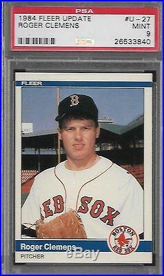 Roger Clemens Red Sox 1984 Fleer Update #U-27 Rookie Card rC PSA 9 Mint QUANTITY