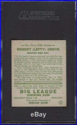 SGC 60 1934 Goudey # 19 Robert (Lefty) Grove Boston Red Sox HOF