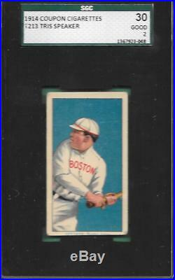 T213 COUPON TRIS SPEAKER HOF ROOKIE CARD 1914 RELEASE withT206 IMAGE GRADED SGC GD