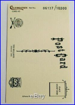 TED WILLIAMS Signed Limited Postcard 1989 Perez Steele Celebration #43 HOF