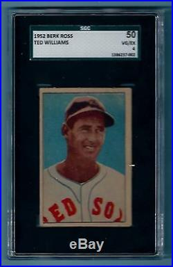 Ted Williams 1952 Berk Ross Sgc 50 Vg/ex Boston Red Sox Hof
