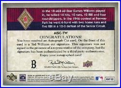 Ted Williams 2008 Sp Legendary Cuts Classic Cuts Autograph Cut Auto Sp #12/16