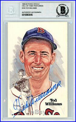Ted Williams Autographed Perez-Steele HOF Postcard #104 Red Sox Beckett 10983045