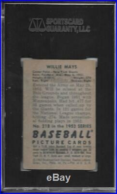 Willie Mays 1952 Bowman Sgc 3! Fresh Slab/centered! High End Second Year